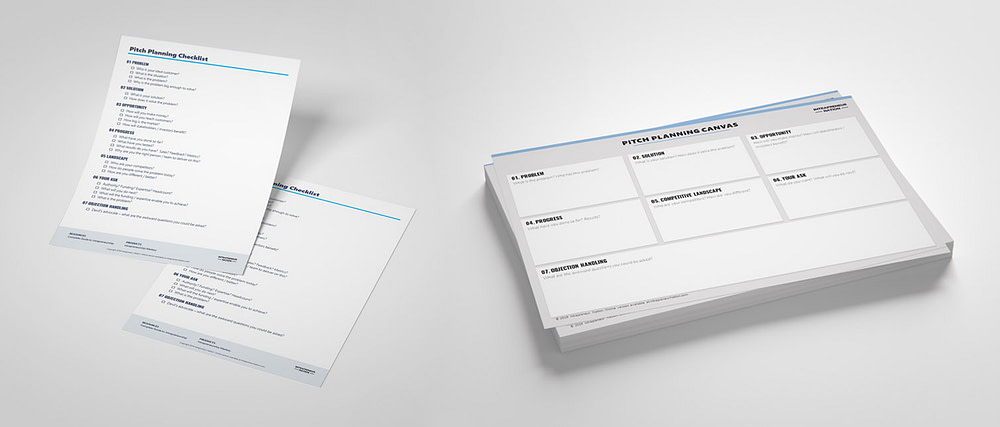 Pitch Checklist and Pitch Planning Canvas