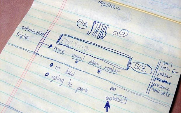 Jack Dorsey's original Twitter Sketch (Wireframe)