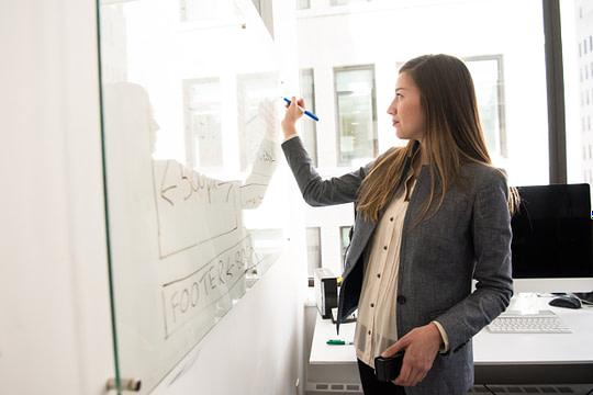 Intrapreneur writing on a whiteboard