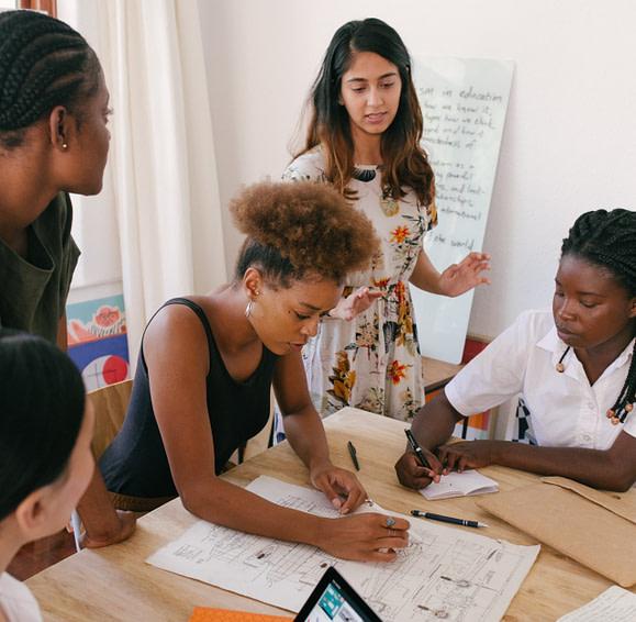 team working in ideation workshop